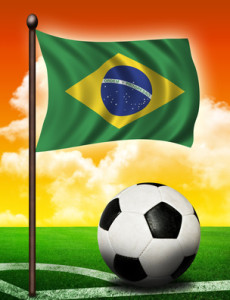 Brasil flag and ball